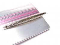 S0909890 NOS Amazing Waterman Carene/CARÈNE ESSENTIAL SILVER ST Wave Ballpoint Pen In Box With Notepad Made in France
