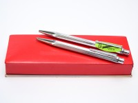 1970s Hexagonal Chevron Pattern Caran d'Ache Ecridor Alpacca Silver 1.18mm Mechanical Pencil & Goliath Ballpoint Pen Set