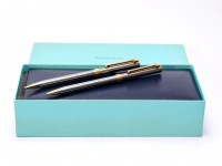 Made in USA Tiffany & Co. T-Clip Chrome and Gold Twist Ballpoint & 0.5mm Repeater Mechanical Pencil Pen Set