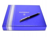 NEW Waterman Hemisphere Black Lacquer & Chrome Twist Mechanism Ballpoint Pen + Notebook Set in Box
