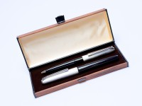 Pelikan Silvexa 21 (M21) 14K HEF Nib Silver Plated Cartridge Fountain and Ballpoint Pen Set in Box