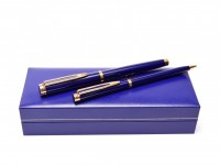 1990s NOS WATERMAN Gentleman Blue Lacquer & Gold Plated Rollerball & Slimline Mechanical Pencil Set in Box