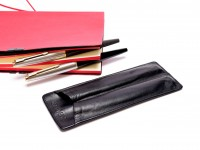 High Quality Parker Black Thick Genuine Leather Pouch Holder For 2 Fountain Rollerball Ballpoint Pens & Pencils