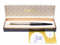 """NOS in Box 1960s Made in England PARKER 45 """"Custom Deluxe"""" Black & 14K Rolled Gold Cap with 14K Gold F Flexible Nib Fountain Pen"""
