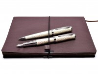 NOS New Cross Sauvage Forever Pearl F Fine 18k Gold 750 Nib Fountain & Ballpoint Pen Set in Box