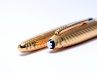 Montblanc 146 1465 MEISTERSTÜCK Meisterstuck Masterpiece LeGrand Solitaire Sterling 925 Silver Gold Vermeil Ribbed B Broad 18K 750 Nib Fountain Pen