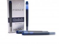 New Authentic Original Made in France PARKER QUINK Fountain Pen Ink Cartridges Refills Reserve Long Large Size - BLUE BLACK- Pack of 5