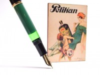 Vintage Mint 1955 Pelikan 120 Type I Black & Green M Medium Gold Plated Nib Piston Fountain Pen