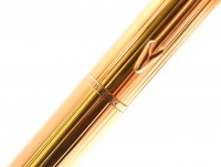 Vintage Parker Rialto Black & 23K Gold w/ Guilloche Design Ballpoint Pen
