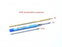 A2 G2 D D1 Ballpoint Pen Refill Size Standard Comparison