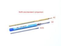 A2 G2 D D1 Ballpoint Ball Pen Refill 12757-2 Size Standard Comparison