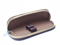 Vintage High Quality Genuine Hard Brown Leather & Beige Pouch Case for 2 Fountain/Ballpoint Pens