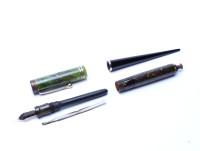 Parker Duofold Jade Green Lucky Curve Desk Pen Push Button Fountain Pen