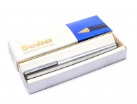 GEHA No. 720/722 Matte Brushed Steel 14K Gold M Medium Nib Cartridge Fountain Pen in Box