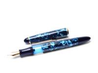 1980s SENATOR Classic Melbi Blue Marble F Fine Nib Piston Fountain Pen