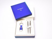 1990s Waterman Hemisphere Type 1 France Brushed Stainless Steel F Fine Nib Fountain & Ballpoint Pen In Gift Box & Keychain