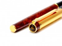 Made in West Germany DIPLOMAT Attache Gold & Brown Leather Lacquer Finish Cartridge Fountain Pen