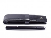 Stunning 2015 Montblanc M Collection Ultra Black MN Marc Newson Design Shiny Precious Black Resin Magnetic Cap Ballpoint Pen in Siena-Meisterstuck Leather Pouch