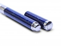 Clipless Lady DIPLOMAT Alpaca Silver & Blue Lapis Marble Lacquer Compact Fountain Pen