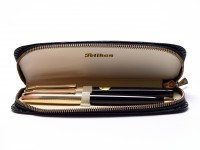 """1960s Rare New NOS Pelikan M30 & R30 (30) Rolled Gold 14K D DEF """"Dokumentieren"""" Nib Fountain Pen & 1.18mm Mechanical Pencil Set in Leather Pouch"""
