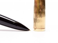 NOS Waterman Carene/CARÈNE Essential 23K Gold Plate & Black Lacquer F Fine 18K Nib Fountain Pen + Ink Bottle Set in Box