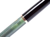 NOS New Old Stock Never Used Pelikan 140 Tortoise Green Striped with Interlocking Cap Ring & 14K Gold Flexible F Nib Piston Fountain Pen