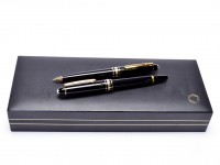 1991 Small Mini Montblanc Meisterstuck Masterpiece W. A. Mozart Black Resin & Gold Fountain & Pencil Set in Box