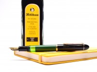Vintage Mint 1955 Pelikan 120 Type I Black & Green Semi-Flex F Fine Gold Plated Nib Piston Fountain Pen