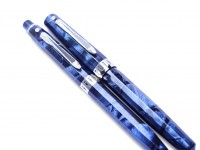 Stunning 1930s Wahl Eversharp Doric Sapphire Blue Shell & Silver Facet Emblem Lever Filler Fountain Pen & Pencil in Box