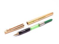 1970s Original First Series Caran d'Ache MADISON All Gold Plated 14K Flex Nib Fountain Ballpoint Pen & Mechanical Pencil Set In Box