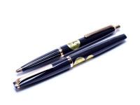 Reform 4383 & 605 Anthracite Grey Triangular Flexible 14K 585 Gold Nib Fountain & Ballpoint Pen Set