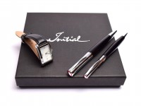 NOS New Rotring Initial Rollerball and Ballpoint Pen Black & Silver Set in Gift Box