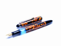 1980s SENATOR Classic Melbi Orange/Brown Marble EF Extra Fine Nib Piston Fountain Pen