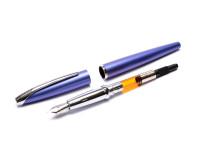 Cross ATX Translucent Dark Navy Blue Lacquer Stainless Steel F Fine Nib Piston Converter Fountain & Rollerball Pen Set in Box