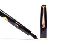 Flagship NOS 1970s Black Resin Reform 4000 (Pelikan 400NN Rival) 14K Gold Super Flex F Nib Fountain Pen & 2mm Mechanical Pencil Set In Box
