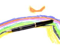 Rare Beautiful 1960s Reform 4328 Round Black 14K Gold Flexible EF to BB Nib Piston Fountain Pen
