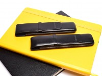 SHEAFFER Black  Thick Genuine Leather Pen Pouch Holder For 1-2 Fountain Rolllerball Ballpoint Pens