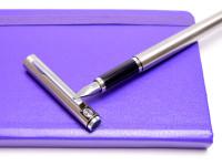 Vintage Pelikan Signum 520 Matte Stainless Steel F Fine Nib Cartridge Sturdy Fountain Pen
