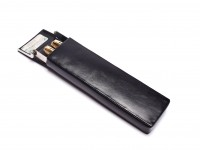 NOS Rare Vintage  Black Thick Genuine Leather with Steel Frame Fountain Rollerball or Ballpoint  Case Pouch Pen Holder