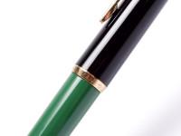 Rare Vintage Mint 1970s Pelikan 120 Type III Series 3 Black & Green Resin EF Nib Piston Fountain Pen - Germany