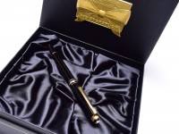 1999 Montblanc 163 Meisterstuck Masterpiece 75 Years of Passion Diamond Anniversary Edition Black Resin & Gold Rollerball in Original Box