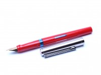 1988/89 Pelikan Pelikano Red P450 Large Ink Windows Steel Cap A/F Nib Cartridge Fountain Pen Made in West Germany