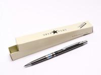 Rare NOS 1973 Black Striped PILOT H1505 0.5mm Leads Stainless Steel Push Button Mechanical Pencil Japan