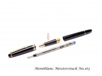 Vintage Black Resin & Gold Plate Montblanc No. 163 Rollerball Pen Front Section Part Spare Repair