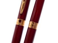 1990s Waterman L`Etalon Maroon Burgundy Red Lacquer & Gold Ballpoint Pen & Pencil Set - Paris France