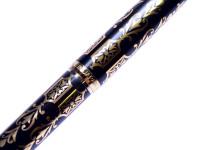 Vintage Kutsuwa Black Lacquer & Gold Plate Aerometric Converter F Fine Nib Fountain Pen