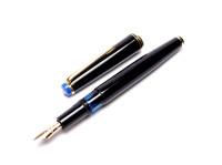 Rare 1960s Blue Captop KAWECO 36 D Durchschreiber Thick 14K Gold D EF Nib Piston Fountain Pen
