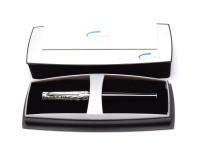 Lady Cross Sauvage Black & Silver Zebra Design, F Fine 18k Gold 750 Nib Fountain Pen in Box