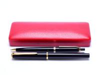 1960s Stunning Pelikan 30/M30 & DK30 Black Resin 14K EF Nib Fountain & Pencil Pen Set in Box