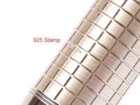 NOS 2011 Parker Sonnet 925 Sterling Silver Ciselé CT Crosshatch 18K 750 F Soft Nib Fountain Pen Made in France